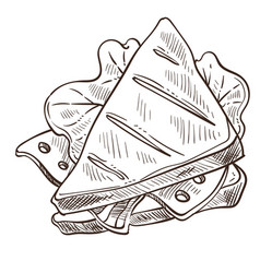 Sandwich tasty food with bread and salad leaves vector