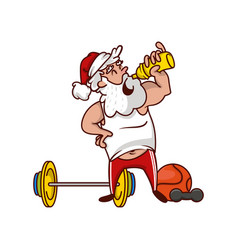 Santa claus drinking water resting after workout vector