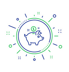 Saving money line icon piggy bank sign vector