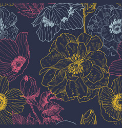 Seamless pattern of wild roses and anemones vector