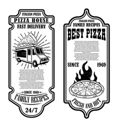 set flyers pizzeria design elements vector image