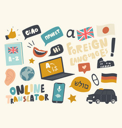 set icons foreign language translation service vector image