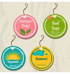 Set of 4 retro summer tags vector image