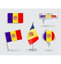 Set of Andorran pin icon and map pointer flags vector image
