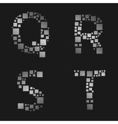 Silver letter set vector