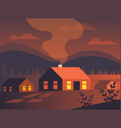 Small village in a fiery sunset vector