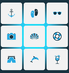 Summer icons colored set with lifesaver conch vector