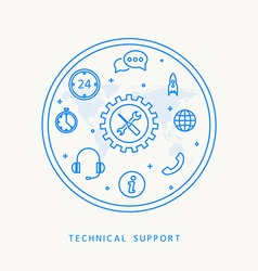 Technical support thine line design vector