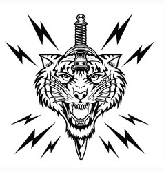 Tiger angry face knife head ta vector