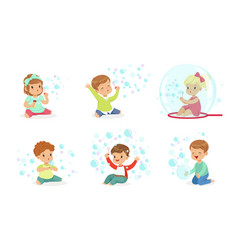 Toddlers play with soap bubbles vector