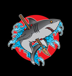 traditional shark tattoo flash vector image