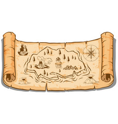 Treasure map on roll paper vector