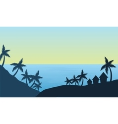 View of palm in the beach silhouette vector image