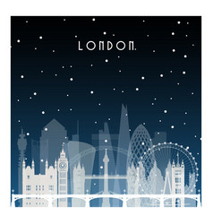 winter night in london night city in flat style vector image