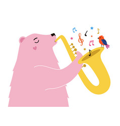 with pink bear plays saxophone red bird vector image