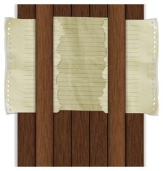 wooden background with paper sheet vector image