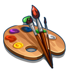 Wooden palette with paint and brushes isolated vector