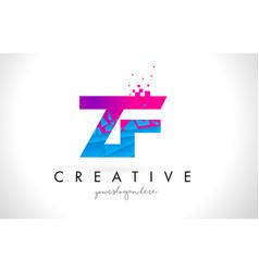 zf z f letter logo with shattered broken blue vector image