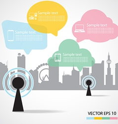 antenna and city background vector image vector image