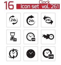 black clock icons set vector image vector image