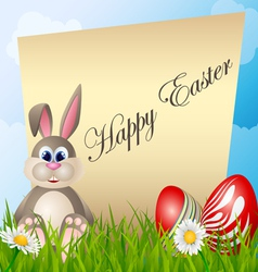 Easter card with cartoon bunny and eggs vector