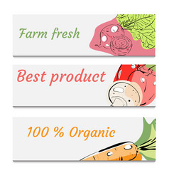 hand drawn healthy food banners set vector image
