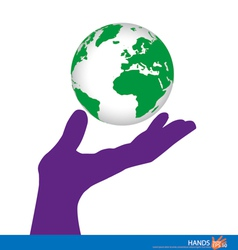 Hand holding a green earth vector image