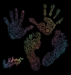 imprint of children s palms and feet mehendi set vector image