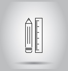 pencil with ruler icon on isolated background vector image vector image