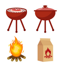 Set for barbecue and grill with charcoal bonfire vector