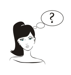 thinking girl with question mark in bubble speech vector image