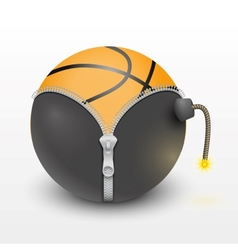 basketball ball inside a burning bomb vector image vector image