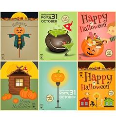 halloween mini posters vector image vector image