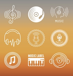 musical logos and icons vector image vector image