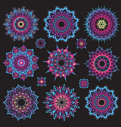 set of mandalas round ornament pattern vector image vector image