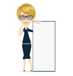 Woman holding a poster vector image vector image