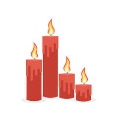 burning candles set vector image