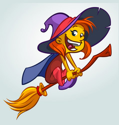 cute witch on a broom vector image vector image