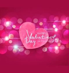 for valentines day heart on pink vector image vector image