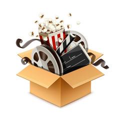 full cardboard box filled vector image