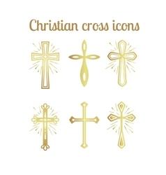 Golden christian cross icons set vector