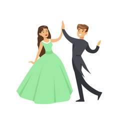 a woman in a ball dress and a man in a frock coat vector image