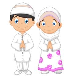 cute two muslims cartoon vector image