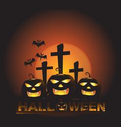 Halloween background with three pumpkin ghost vector
