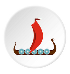 medieval boat icon circle vector image