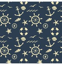 Nautical seamless pattern blue vector