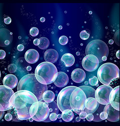 3d soap transparent bubbles background vector