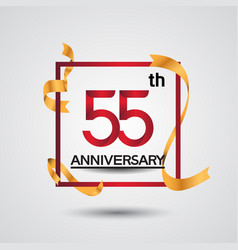 55 anniversary design with red color in square vector