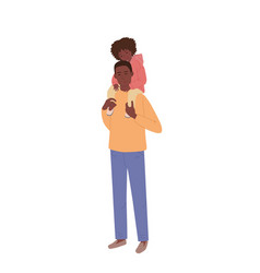 A man holds beautiful daughter on his shoulders vector
