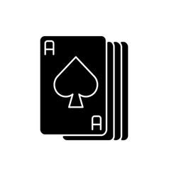 Ace cards black glyph icon vector
